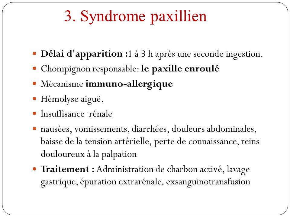 3. Syndrome paxillien Délai d apparition :1 à 3 h après une seconde ingestion. Chompignon responsable: le paxille enroulé.