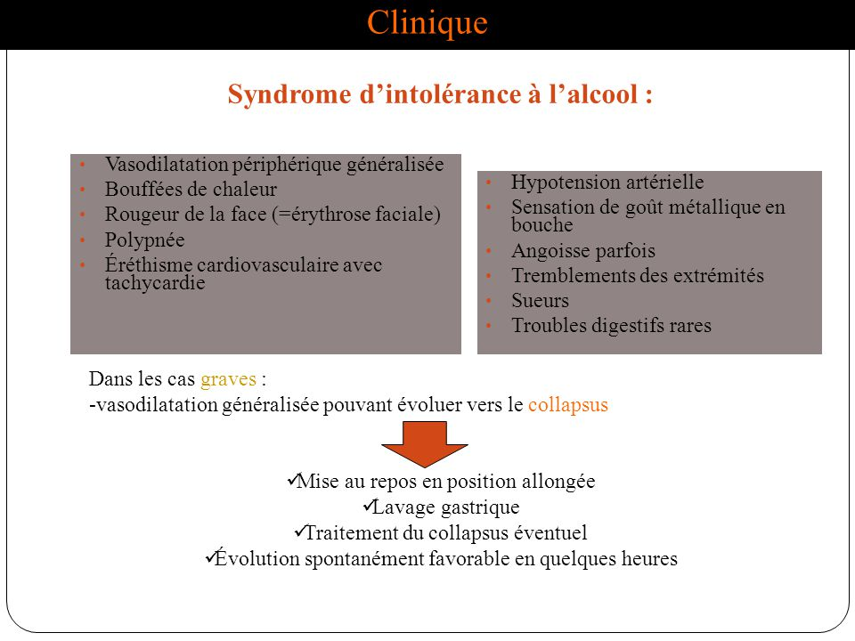 Clinique Syndrome d'intolérance à l'alcool :
