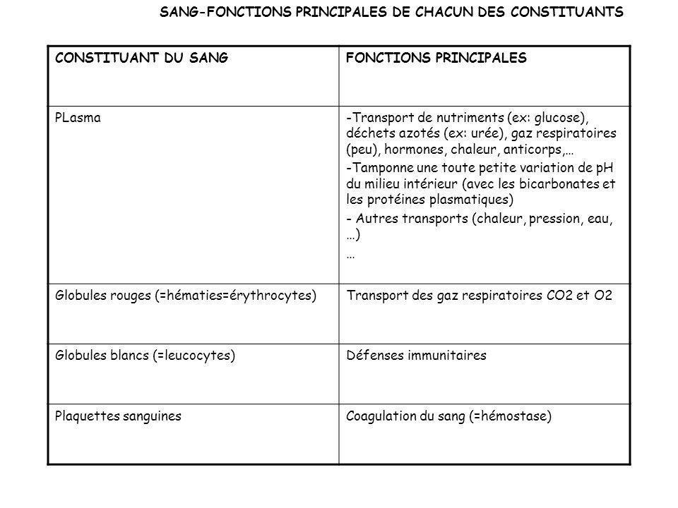 SANG-FONCTIONS PRINCIPALES DE CHACUN DES CONSTITUANTS