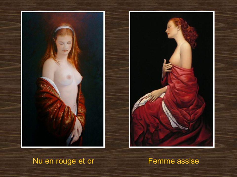 Nu en rouge et or Femme assise