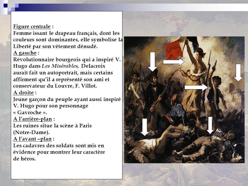 Figure centrale : Femme issant le drapeau français, dont les. couleurs sont dominantes, elle symbolise la.