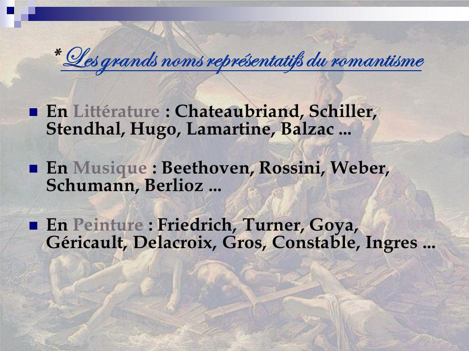 * Les grands noms représentatifs du romantisme