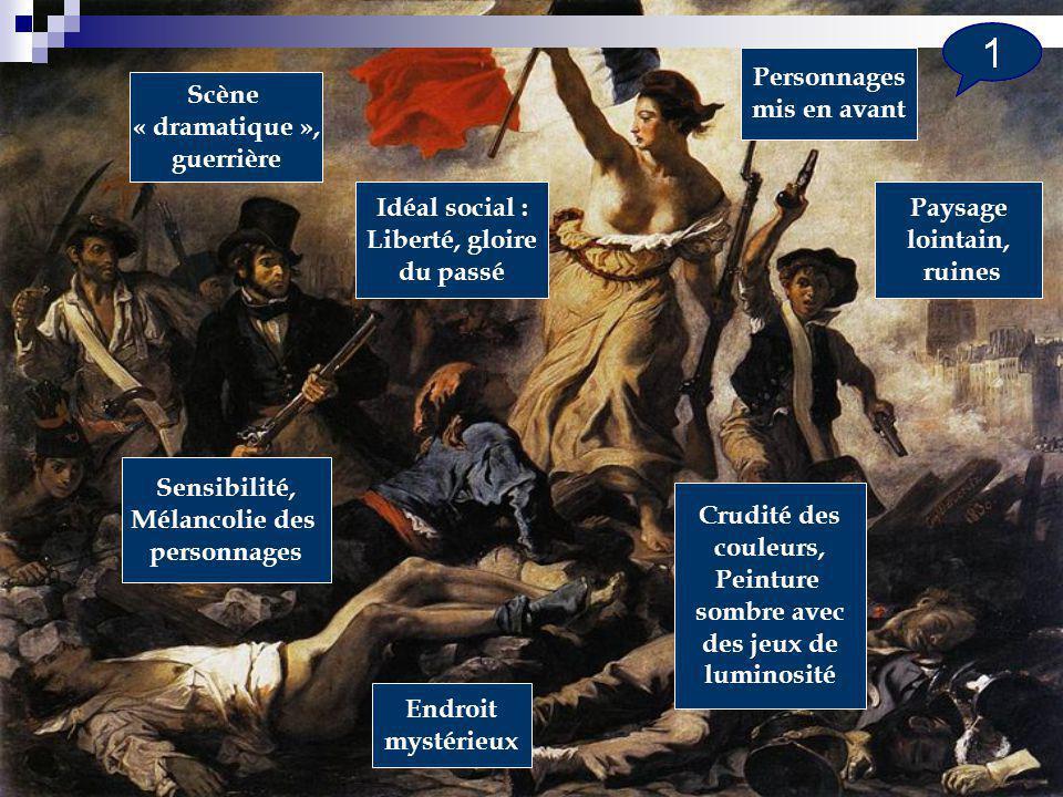 Personnages mis en avant. Scène. « dramatique », guerrière. Idéal social : Liberté, gloire. du passé.
