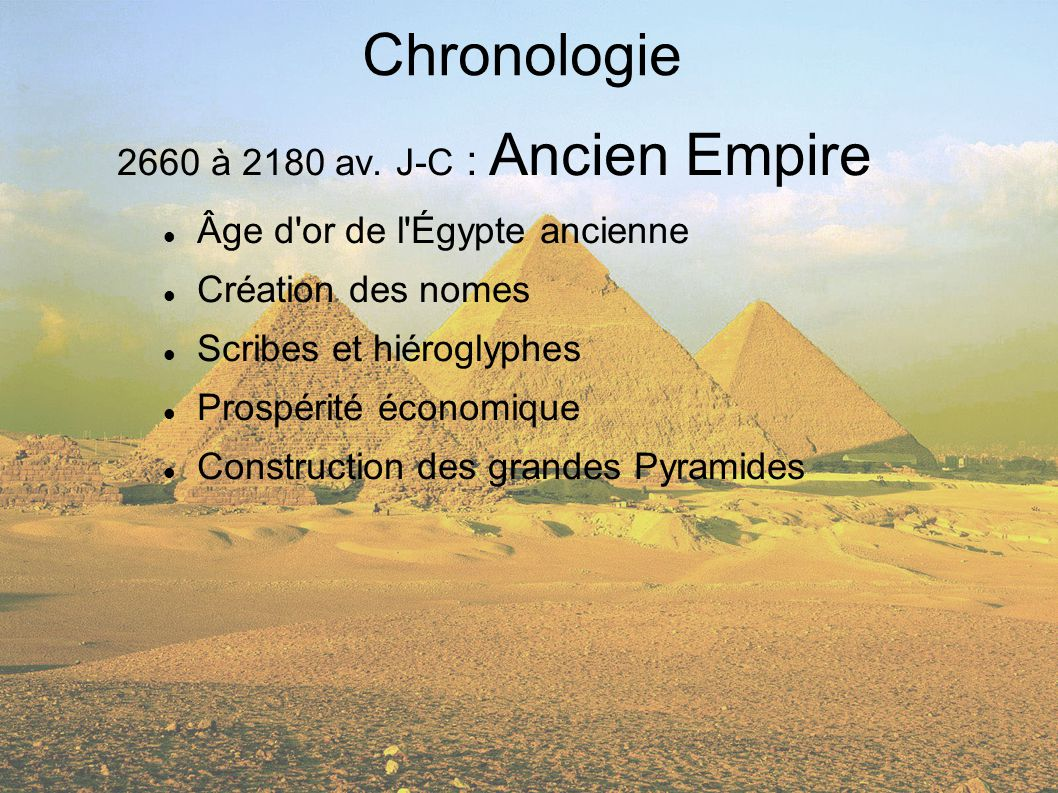 Chronologie 2660 à 2180 av. J-C : Ancien Empire