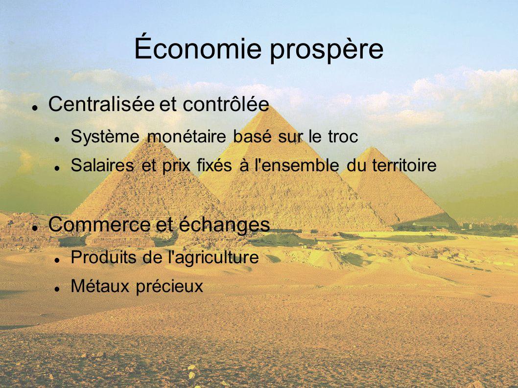 Économie prospère Centralisée et contrôlée Commerce et échanges