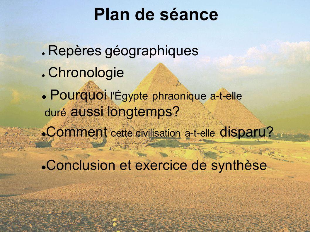 Plan de séance Repères géographiques. Chronologie. Pourquoi l Égypte phraonique a-t-elle duré aussi longtemps