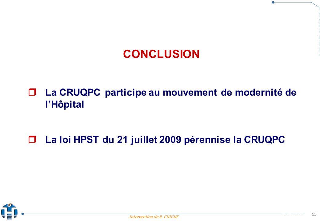 CONCLUSION  La CRUQPC participe au mouvement de modernité de l'Hôpital.