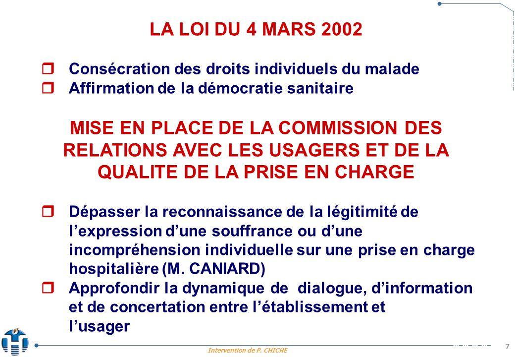 LA LOI DU 4 MARS 2002  Consécration des droits individuels du malade.  Affirmation de la démocratie sanitaire.