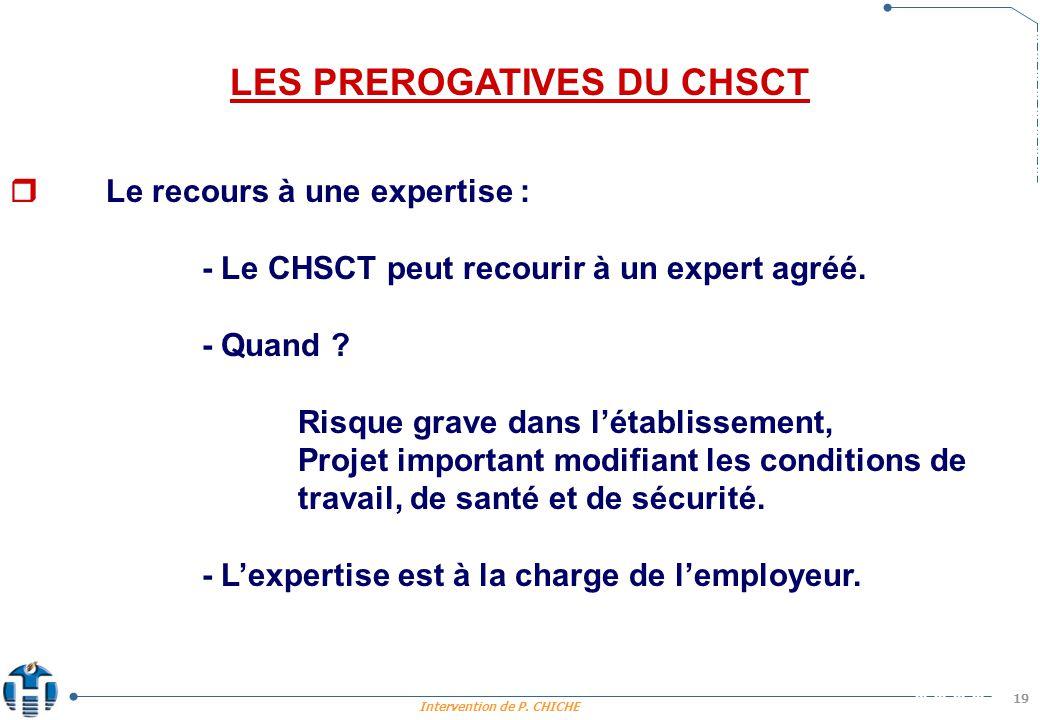 LES PREROGATIVES DU CHSCT