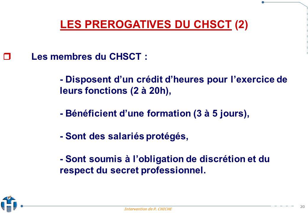 LES PREROGATIVES DU CHSCT (2)
