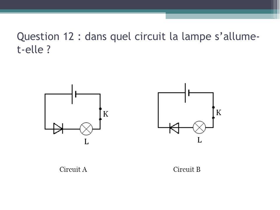 Question 12 : dans quel circuit la lampe s'allume-t-elle