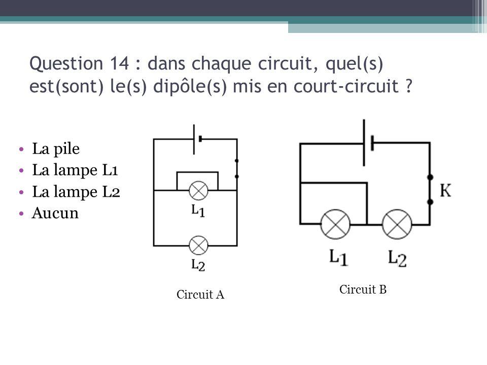 13/03/13 Question 14 : dans chaque circuit, quel(s) est(sont) le(s) dipôle(s) mis en court-circuit