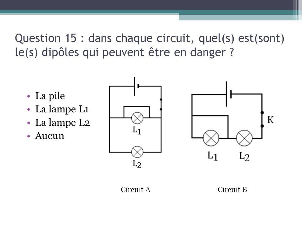 13/03/13 Question 15 : dans chaque circuit, quel(s) est(sont) le(s) dipôles qui peuvent être en danger