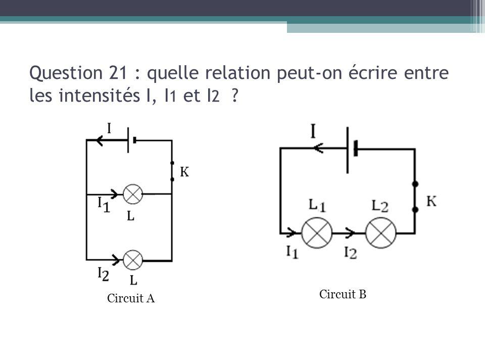 13/03/13 Question 21 : quelle relation peut-on écrire entre les intensités I, I1 et I2 Circuit B.