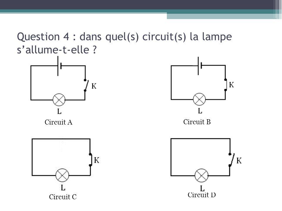 Question 4 : dans quel(s) circuit(s) la lampe s'allume-t-elle