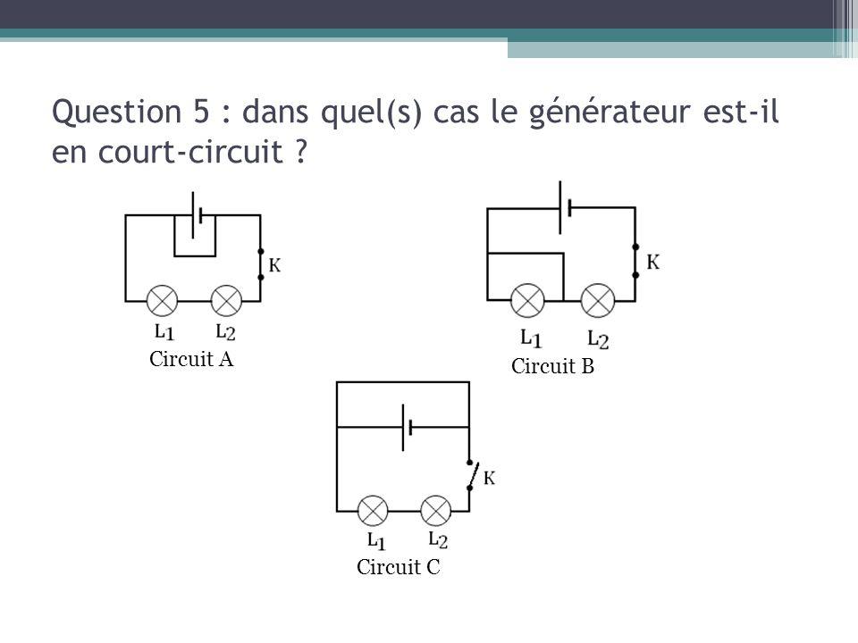 Question 5 : dans quel(s) cas le générateur est-il en court-circuit