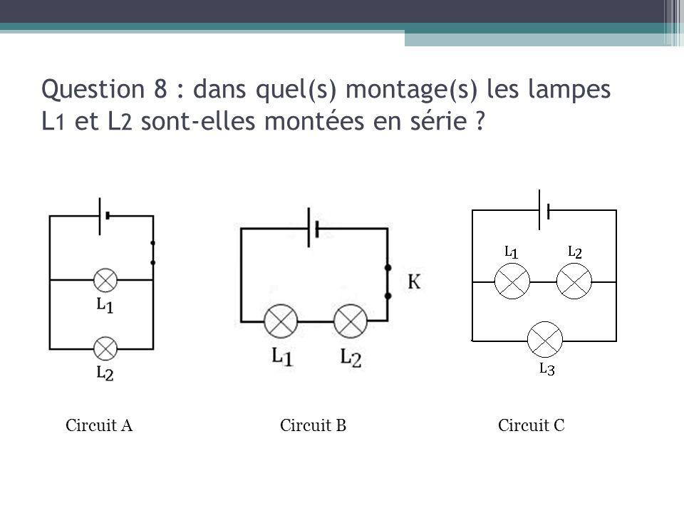 13/03/13 Question 8 : dans quel(s) montage(s) les lampes L1 et L2 sont-elles montées en série Circuit A.