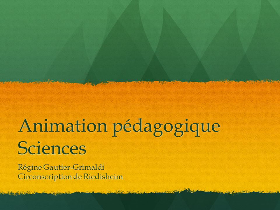Animation pédagogique Sciences