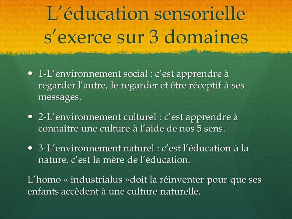 L'éducation sensorielle s'exerce sur 3 domaines