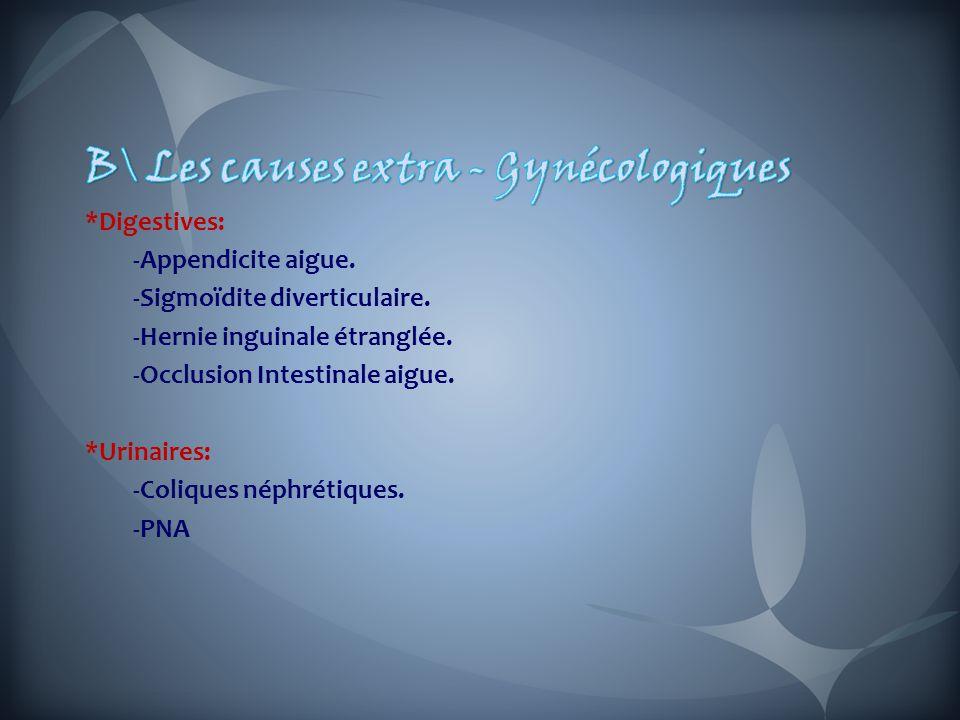 B\ Les causes extra - Gynécologiques