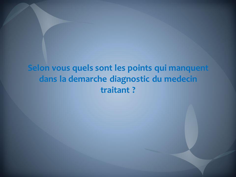 Selon vous quels sont les points qui manquent dans la demarche diagnostic du medecin traitant
