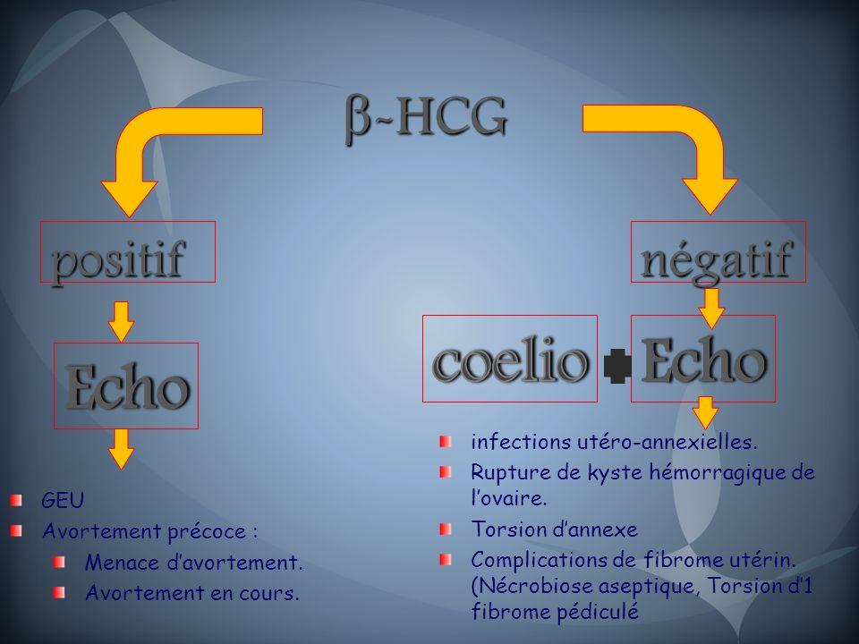 coelio Echo Echo β-HCG positif négatif infections utéro-annexielles.