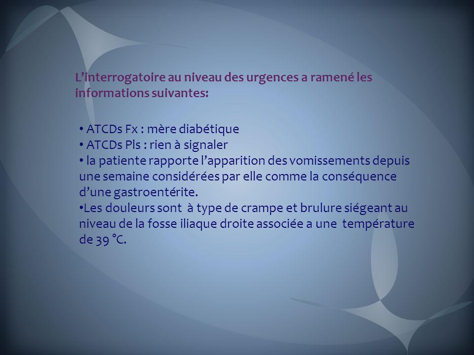 L'interrogatoire au niveau des urgences a ramené les informations suivantes: