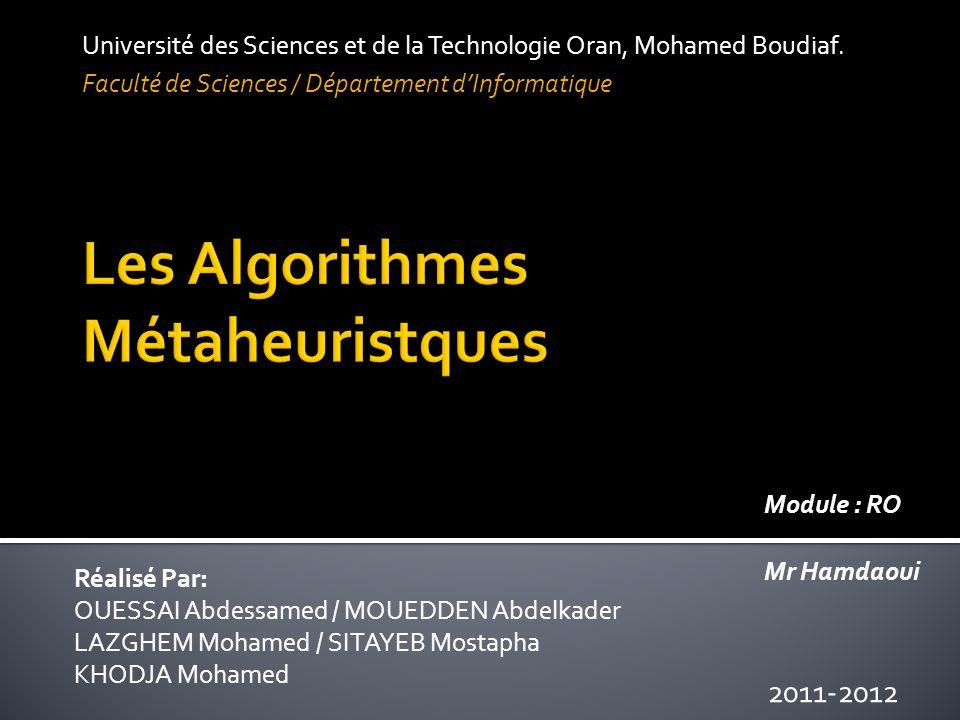 Les Algorithmes Métaheuristques