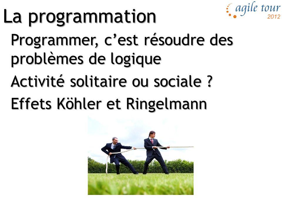 La programmation Programmer, c'est résoudre des problèmes de logique Activité solitaire ou sociale .