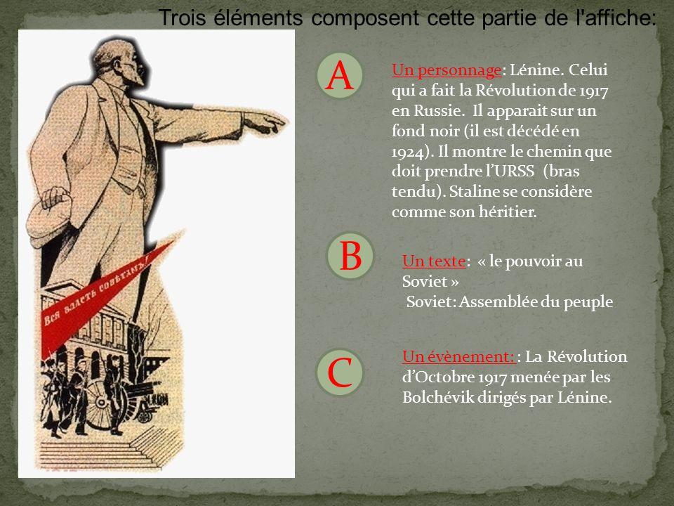A B C Trois éléments composent cette partie de l affiche: