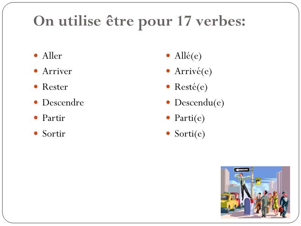 On utilise être pour 17 verbes: