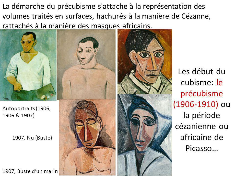 La démarche du précubisme s attache à la représentation des volumes traités en surfaces, hachurés à la manière de Cézanne, rattachés à la manière des masques africains.