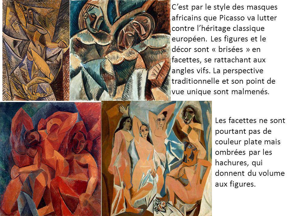 C'est par le style des masques africains que Picasso va lutter contre l'héritage classique européen. Les figures et le décor sont « brisées » en facettes, se rattachant aux angles vifs. La perspective traditionnelle et son point de vue unique sont malmenés.