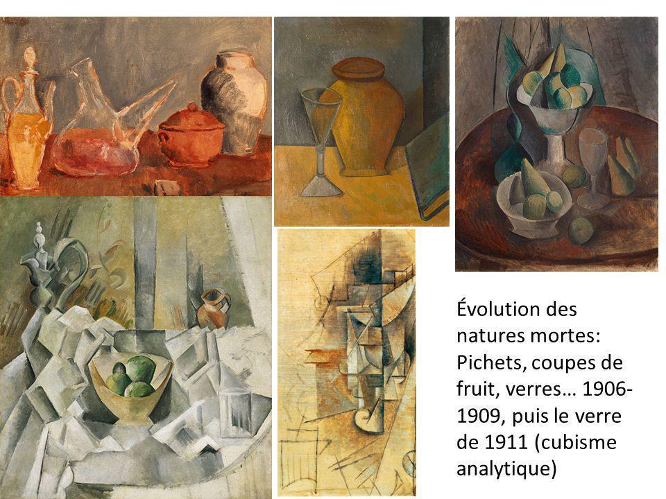 Évolution des natures mortes: Pichets, coupes de fruit, verres… 1906-1909, puis le verre de 1911 (cubisme analytique)