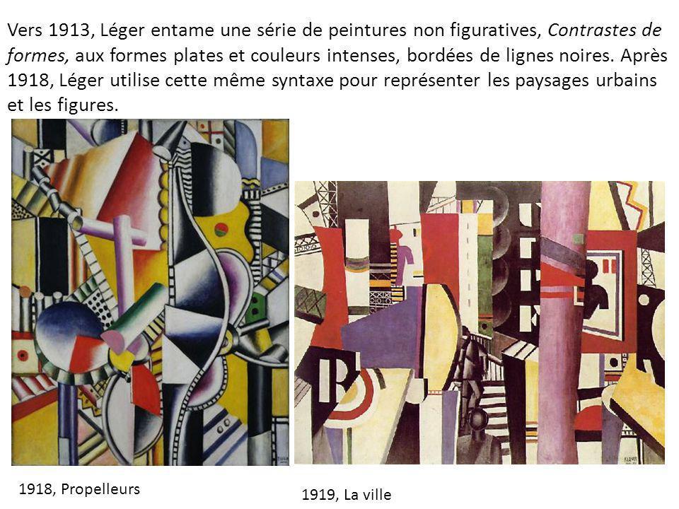 Vers 1913, Léger entame une série de peintures non figuratives, Contrastes de formes, aux formes plates et couleurs intenses, bordées de lignes noires. Après 1918, Léger utilise cette même syntaxe pour représenter les paysages urbains et les figures.