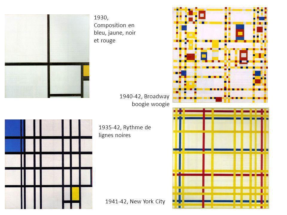 1930, Composition en bleu, jaune, noir et rouge
