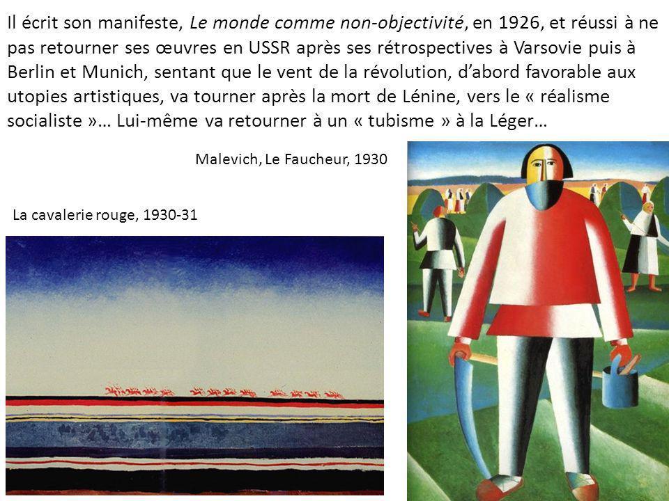 Il écrit son manifeste, Le monde comme non-objectivité, en 1926, et réussi à ne pas retourner ses œuvres en USSR après ses rétrospectives à Varsovie puis à Berlin et Munich, sentant que le vent de la révolution, d'abord favorable aux utopies artistiques, va tourner après la mort de Lénine, vers le « réalisme socialiste »… Lui-même va retourner à un « tubisme » à la Léger…