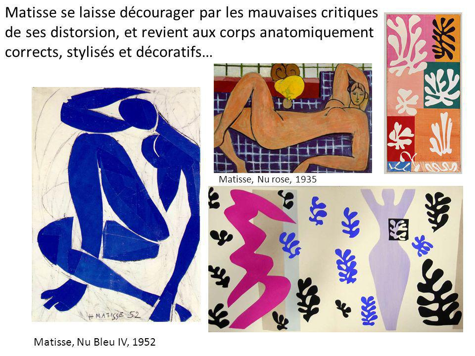 Matisse se laisse décourager par les mauvaises critiques de ses distorsion, et revient aux corps anatomiquement corrects, stylisés et décoratifs…