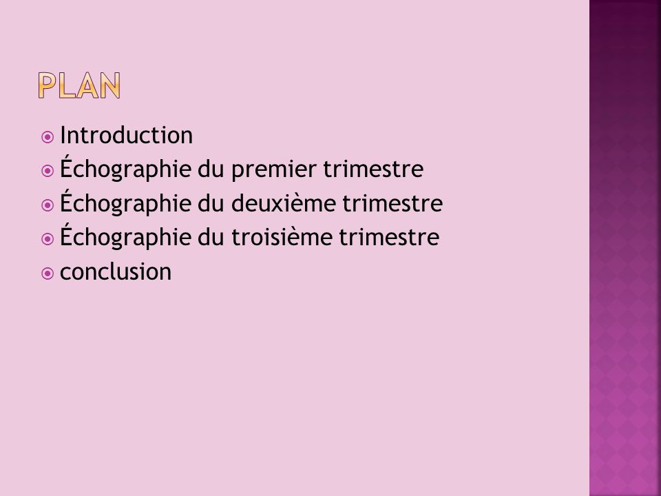Plan Introduction Échographie du premier trimestre