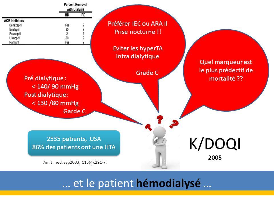 K/DOQI 2005 … et le patient hémodialysé … Préférer IEC ou ARA II