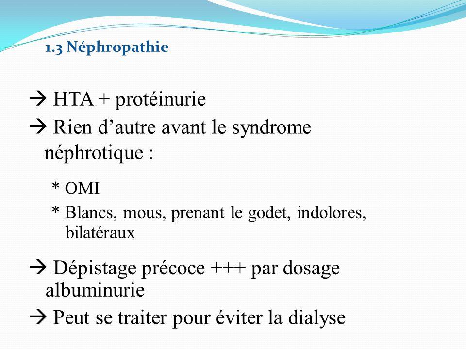 Rien d'autre avant le syndrome néphrotique :