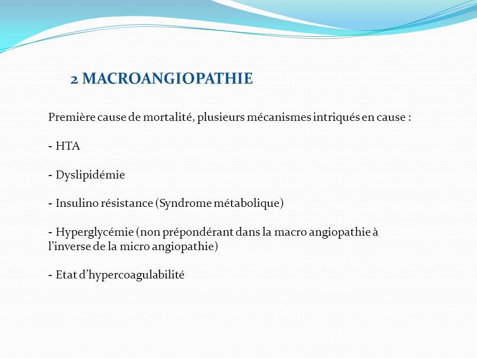 2 MACROANGIOPATHIE Première cause de mortalité, plusieurs mécanismes intriqués en cause : - HTA. - Dyslipidémie.