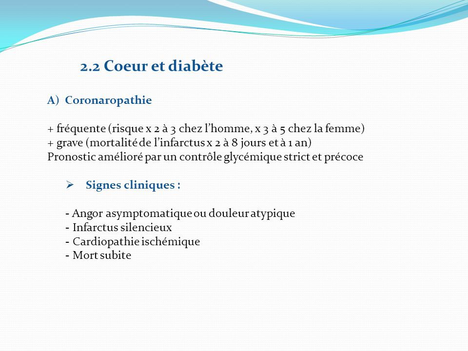 2.2 Coeur et diabète Coronaropathie