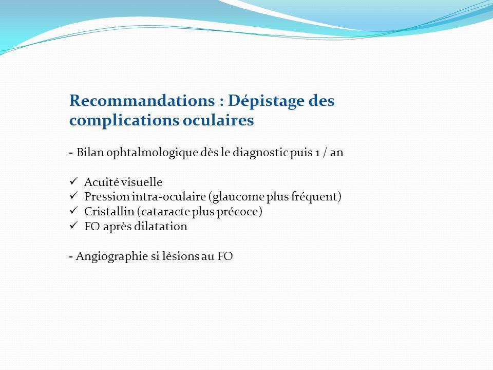 Recommandations : Dépistage des complications oculaires