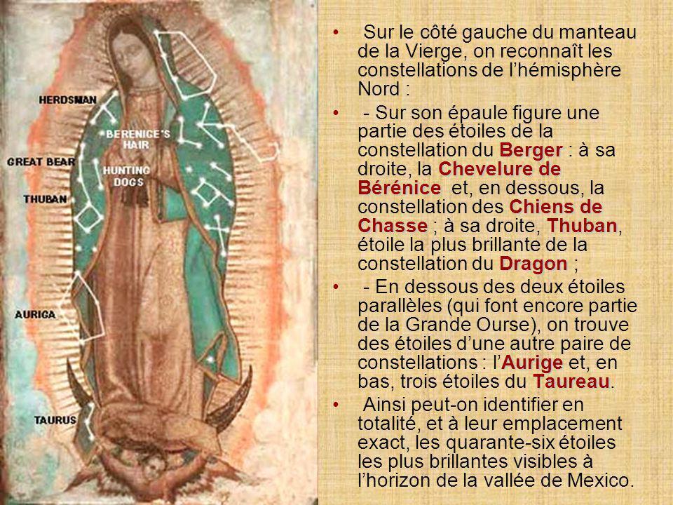 Sur le côté gauche du manteau de la Vierge, on reconnaît les constellations de l'hémisphère Nord :