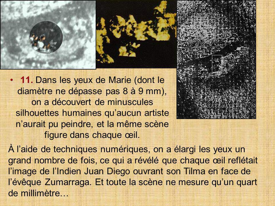 11. Dans les yeux de Marie (dont le diamètre ne dépasse pas 8 à 9 mm), on a découvert de minuscules silhouettes humaines qu'aucun artiste n'aurait pu peindre, et la même scène figure dans chaque œil.