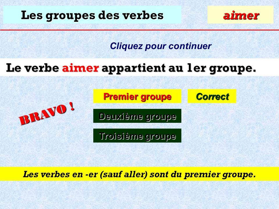 Le verbe aimer appartient au 1er groupe.