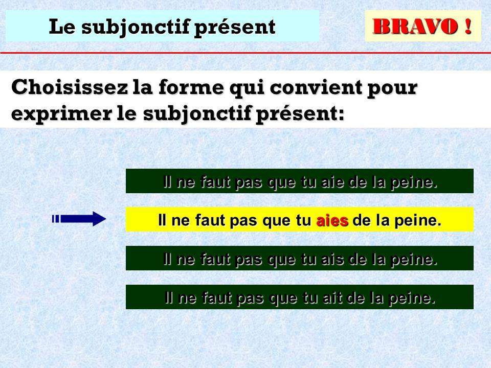 Choisissez la forme qui convient pour exprimer le subjonctif présent: