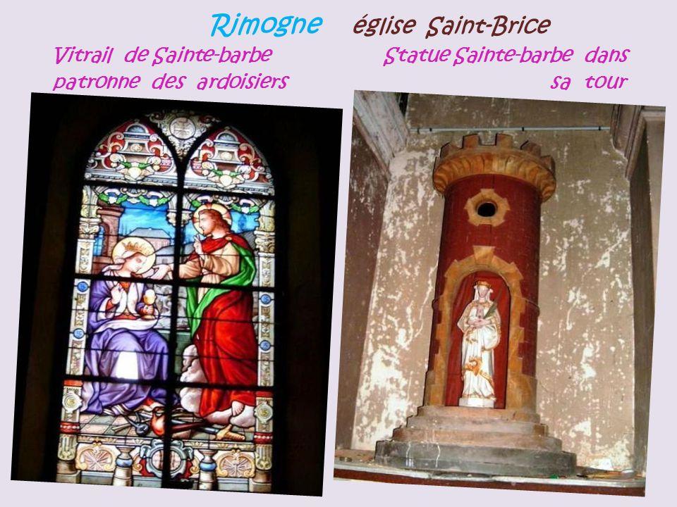 Rimogne église Saint-Brice Vitrail de Sainte-barbe Statue Sainte-barbe dans patronne des ardoisiers sa tour