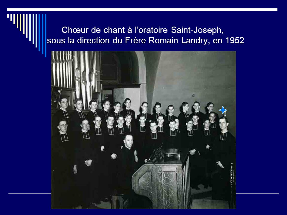 Chœur de chant à l'oratoire Saint-Joseph, sous la direction du Frère Romain Landry, en 1952